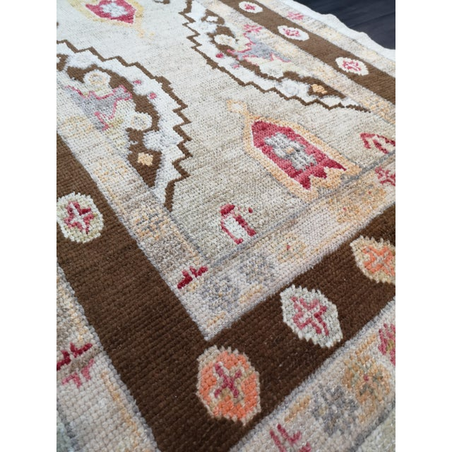 Contemporary Turkish Contemporary Hand-Knotted Oushak Runner Rug For Sale - Image 3 of 10