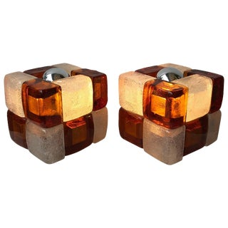 Pair of Lamps Glass Cube by Poliarte, Italy, 1970s For Sale