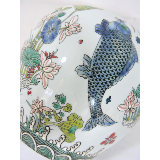 Early 20th Century 'Kangxi' Chinese Lotus & Fish Ginger Jar For Sale - Image 10 of 12