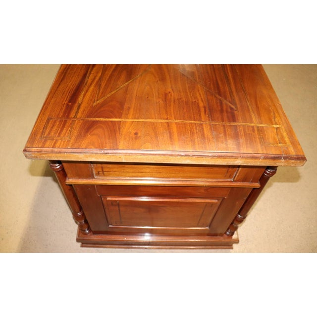 Italian Inlaid Walnut Executive Desk For Sale - Image 4 of 10