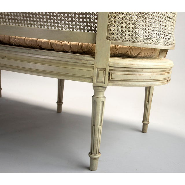Painted Louis XVI Style Large Caned Settee With Original Cushion For Sale - Image 10 of 11
