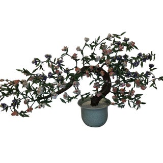 Asian Mid-Century Glass Tree Sculpture For Sale