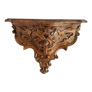 Vintage Large Carved Wood Wall Shelf For Sale