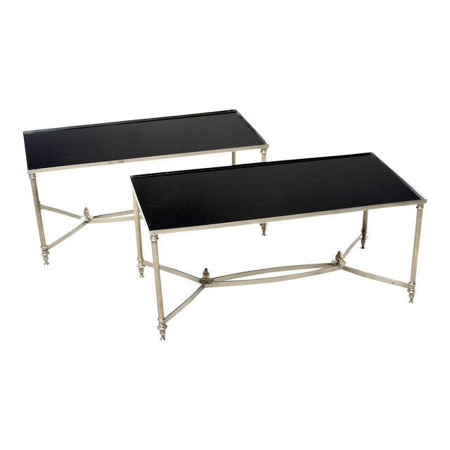 French Maison Baguès Style Black Glass Top Cocktail Tables - Pair For Sale