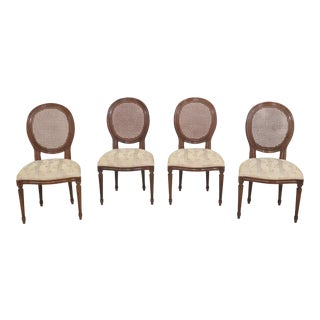 1980s Vintage Baker Medallion Back French Style Dining Chairs- Set of 4 For Sale