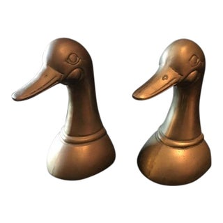 Vintage Brass Long Neck Duck Bookends - a Pair For Sale