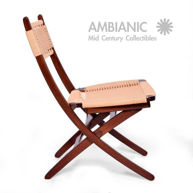 Mid-Century Danish Modern Rope Folding Chair For Sale In San Diego - Image 6 of 9
