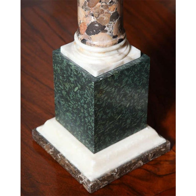 Grand Tour Pair of Grand Tour Columns in Porphyry, Breche and Alabaster For Sale - Image 3 of 9