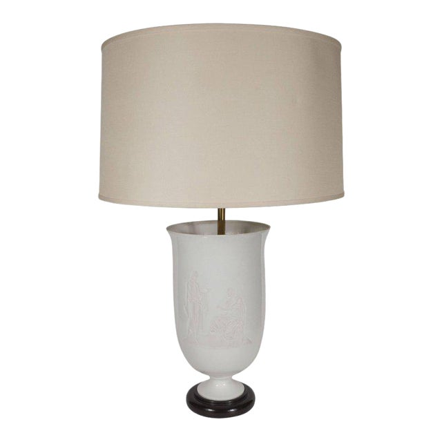 French Art Deco White Glass Table Lamp and Uplight with Greco Roman Figures For Sale