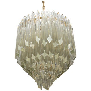 1970s Italian Venini Camer Triedi Clear Crystal Prism Chandelier For Sale