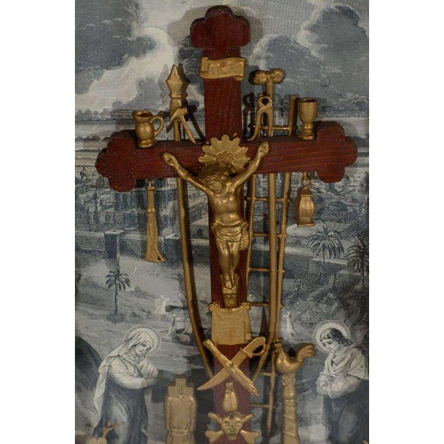 Antique Victorian Religious Shadowbox with Crucifix Scene - Image 6 of 9