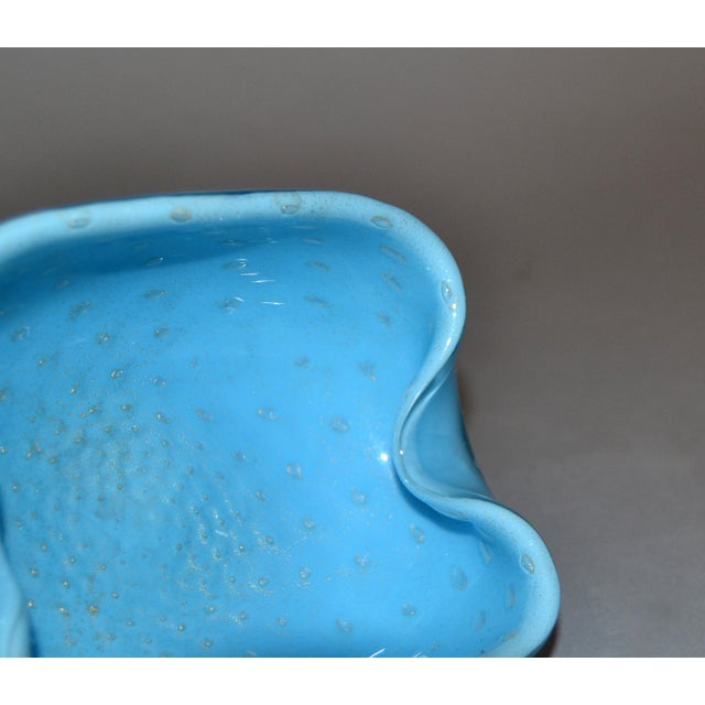 Elegant Murano Glass Blue and Gold Flecks Bowls / Catchalls - a Pair For Sale - Image 9 of 12