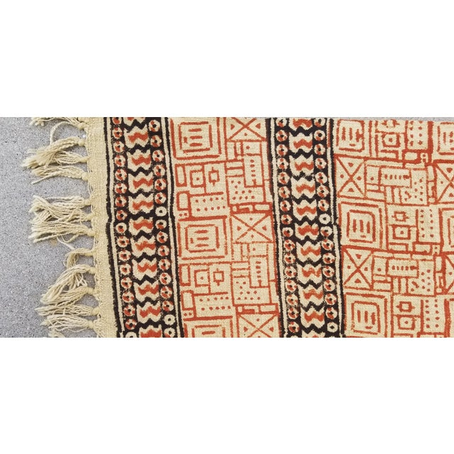 A thick hand woven nubby flax shawl with hand block printed design. Great as a throw or to make many pillows.