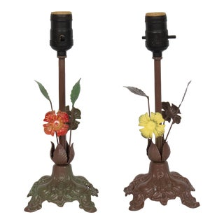 1940s Vintage Italian Painted Tole Floral Table Lamps - A Pair For Sale