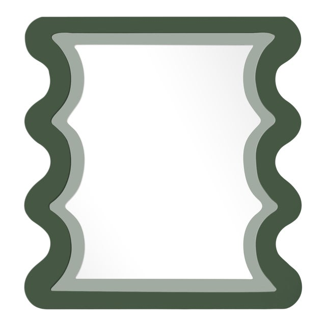 Fleur Home x Chairish Carnival Mystic Rectangle Mirror in Duck Green, 24x36 For Sale