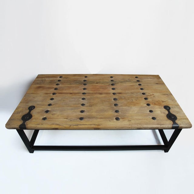 Country Old Elm Door Coffee Table For Sale - Image 3 of 3