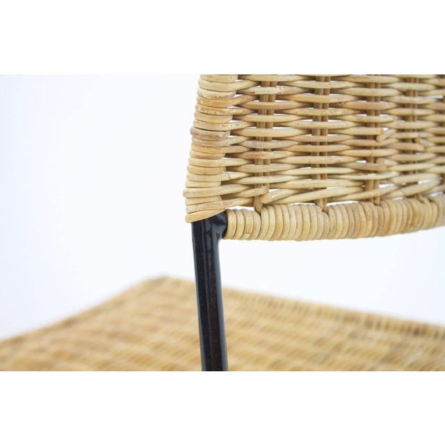 Set of Four Dining Room Chairs in Wicker and Metal, Germany, 1960s For Sale - Image 9 of 12