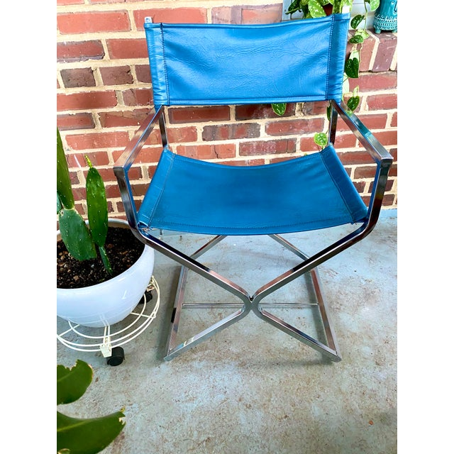 1960s Vintage Blue and Chrome Milo Baughman Director's Chair For Sale - Image 5 of 11