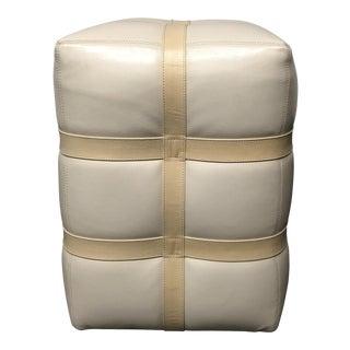Global Views Ivory Leather Ottoman Pouf