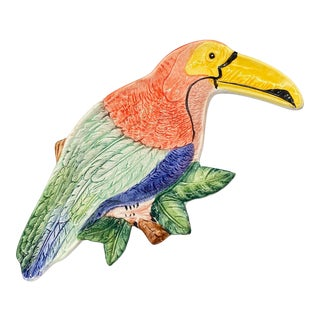 20th Century Italian Animalia Parrot Bird Catchall Dish/ Tray For Sale