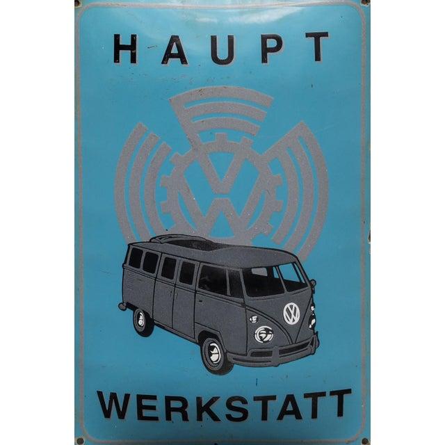 "Original vintage ""VW Hauptwerkstadt"" advertising enamel sign, made in Germany in the early 1950s. Dimension: 60x39cm"