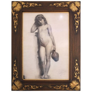 "19th Century ""Young Girl"" Pencil Drawing by William Charles Thomas Dobson For Sale"
