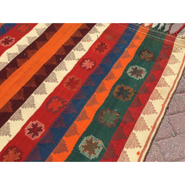 Colorful Vintage Kilim Rug For Sale In Raleigh - Image 6 of 10