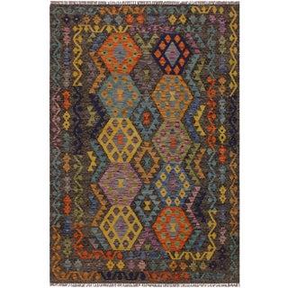 "Kilim Alline Hand-Woven Wool Rug -4'11"" X 6'10"" For Sale"