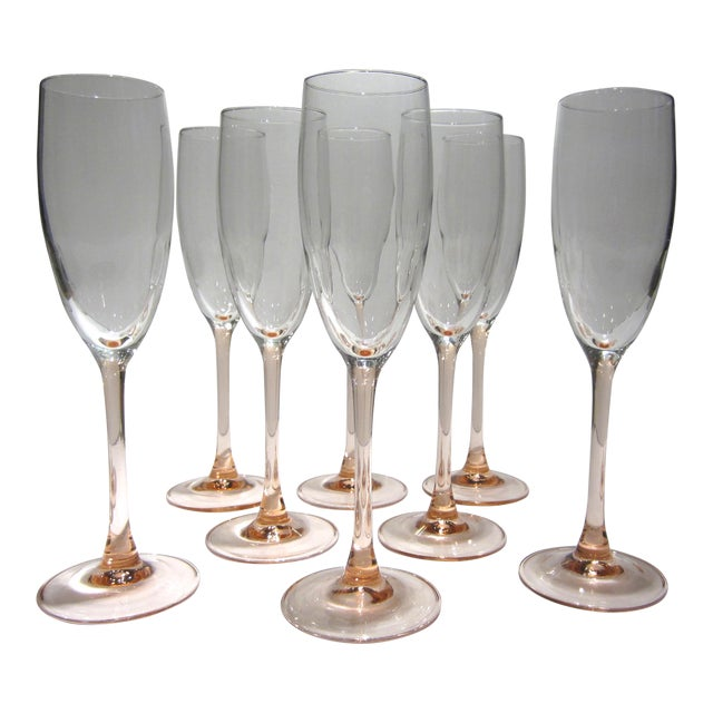 French Pink Champagne Flutes - Set of 8 For Sale