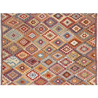 "Nalbandian - Contemporary Afghan Maimana Kilim - 5'11"" X 7'8"" For Sale"