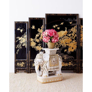 Chinese Lacquer Gilt Five Panel Peacock Screen Preview