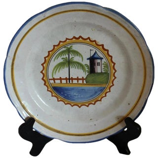 Faience Watch Tower and Palm Tree Plate