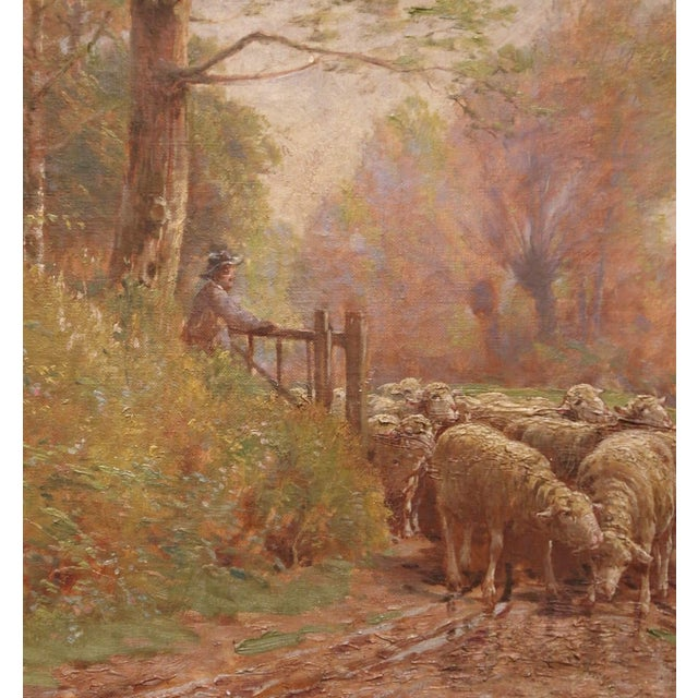 19th Century French Sheep Painting in Carved Gilt Frame Signed Charles Clair For Sale - Image 4 of 12