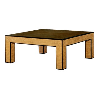 Century Furniture Newport Square Coffee Table, Sand and Light Brown For Sale