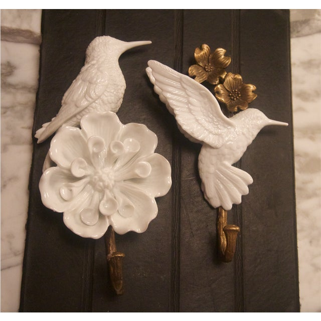 Porcelain & Brass Birds Wall Mount Hooks - Pair - Image 10 of 11