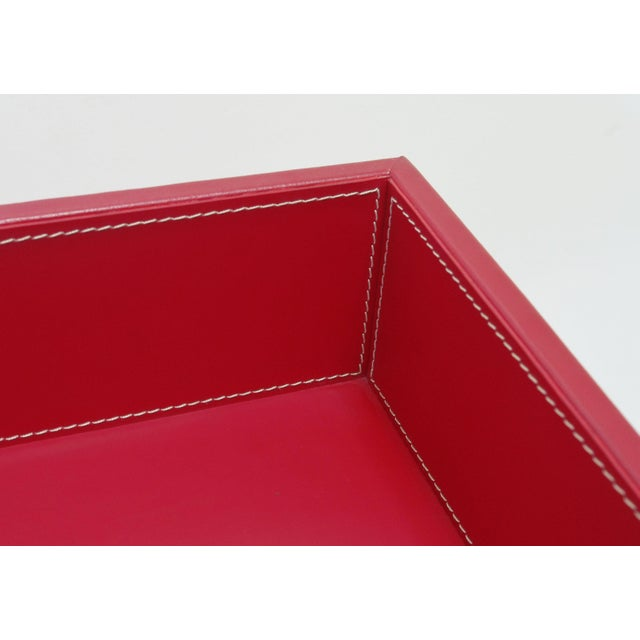 2010s Red Leather and Stainless Steel Tray Table by Fabio Ltd For Sale - Image 5 of 7