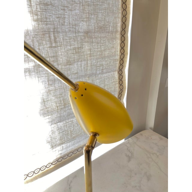 Canary Yellow Italian 1970s Enameled Adjustable Table Lamp For Sale - Image 8 of 10