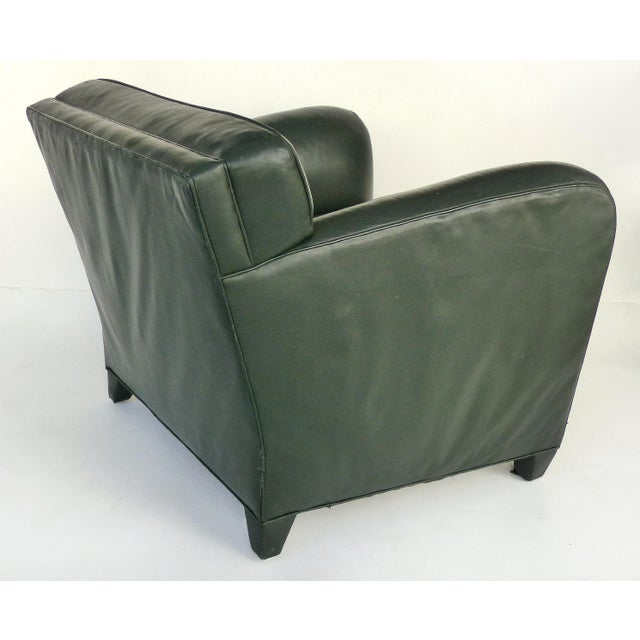 Donghia Donghia Leather Club Chairs From the Main Street Collection in Forest Green For Sale - Image 4 of 9