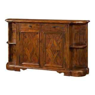 Antiqued Wood Break Bowfront Side Cabinet For Sale