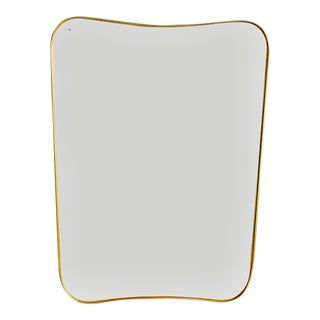 Gilded Minimalist Wall Mirror Made in the Manner of Gio Ponti For Sale