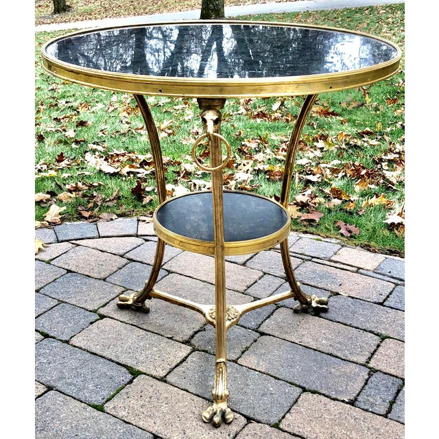 Louis XVI Style Bronze 2 Tier Marble Top Gueridon Table For Sale In New York - Image 6 of 8