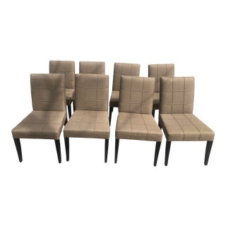 Brown Dining Chairs With Holly Hunt Fabric - Set of 8 For Sale