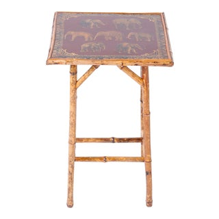 Antique English Bamboo and Elephant Decoupage Table For Sale