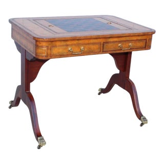Maitland Smith Leather Top Game Table For Sale