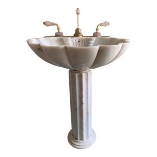 Late 20th Century Sherle Wagner Shell Pedestal Sink For Sale