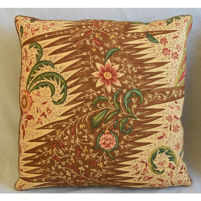 """Abstract French Pierre Frey La Riviere Feather/Down Pillows 21"""" Square - Pair For Sale - Image 3 of 13"""