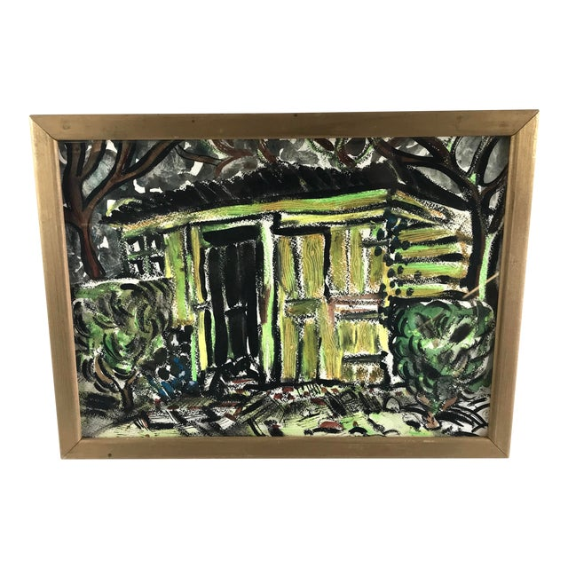 """1996 Small English Abstract """"Green House"""" Framed Painting For Sale"""