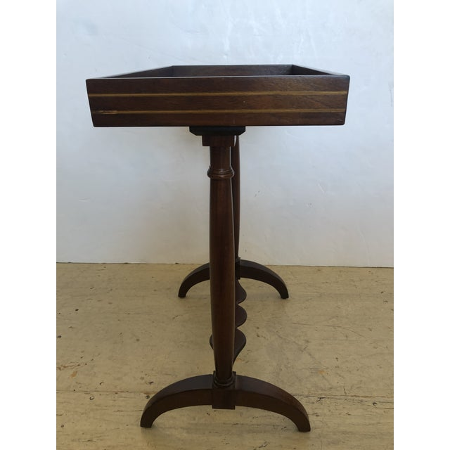 Wood Mahogany Rectangular Small End Table With Banded Inlay For Sale - Image 7 of 11