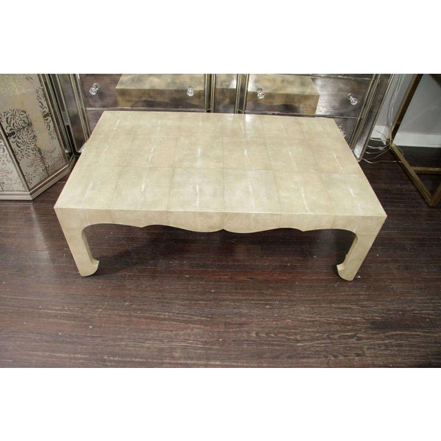 Tan Chinoiserie Style Shagreen Cocktail Table For Sale - Image 8 of 8