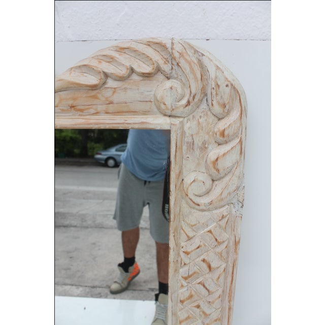Hollywood Regency Hand Carved Wall Mirror For Sale - Image 5 of 10